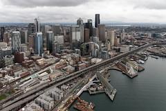 Bird's eye view of the Alaskan Way Viaduct (WSDOT) Tags: gp alaskanwayviaduct seattle downtown waterfront aerial