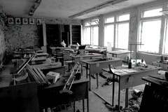 Radioactive Science - Pripyat Ukraine (Harald Philipp) Tags: chernobyl ukraine pripyat radioactive sony classroom monochrome bw ussr soviet communism blackwhitephotos