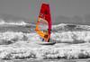 Windsurfer on Newgale Beach - Selective Colour. (hemlockwood1) Tags: windsurfing water sport newgale beach surf waves sky sea pembrokeshire sail board wales sand selective colouring