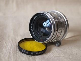 KMZ Jupiter-8 50mm ƒ/2 silver red P (КМЗ Юпитер-8 п)