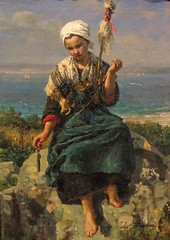 The Flax Spinner (clarkcg photography) Tags: theflaxspinner julesbreton peasant worker 1850s colors light shades textures art oil canvas tulsamuseumofart inspiremethursday