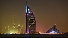 Burj Khalifa, Burj Al Arab, Jumeirah Hotel... (John Konstandis) Tags: canoneos5dmarkiii canonef100300mmf4556usm unitedarabemirates uae dubai dubaitowers tower sky skyscraper hotel burjkhalifa burjalarab jumeirahbeachhotel jumeirah palmjumeirahisland palm water lights nightindubai night nightphotography longexposurephotography