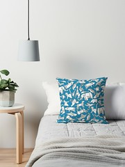 origami animal ditsy blue redbubble throw pillow (Scrummy Things) Tags: sharonturner scrummy illustration design surfacepattern origami japanese paper folding elephant pig cat dog donkey shark dolphin rooster duck penguin polarbear raccoon frog turtle crane giraffe black white nursery kids blue pillow throwpillow cushion