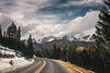 Beyond the bend (miss.interpretations) Tags: mountains roads snowcapped snow skies clouds afternoon rockymountainnationalpark rmnp colorado street pavement dirt trees framed amazed blueskies canon6dmarkii 35mml daydream travel adventures explore passenger windshield driving roadtrip