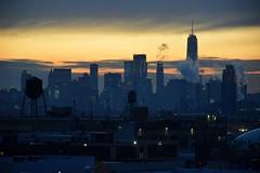 Sunset Skyline (CrispyBassist) Tags: skyline sunset manhattan queens watertower skyscraper oneworldtrade