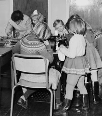 Craft lesson (theirhistory) Tags: children child girls kids play school chair skirt jumper wellies shpes wellingtons class form pupils students education