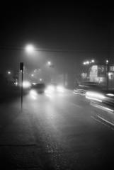 Foggy nights (mmaslyuk) Tags: blackandwhite cars nights fog handheld longexposure 400 tmax kodak analog film canonet17 canonet canon