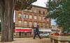 Peekaboo Hotel (fotofrysk) Tags: amfiteatarskahotel hotel man pedestrian rooms shops park parkette bench tree gravelbuildings architecture easterneuropetrip croatia pula istria dalmatiancoast sigmaex1020mmf456dchs nikond7100 201710037978