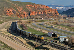 A Town Called Echo (jamesbelmont) Tags: unionpacific autotrain sd70m aammi echo utah evanstonsub coalville echodam interstate84 rural farm echocliffs