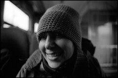 368 Pan400 06 (rubbernglue) Tags: annalagerlöf portrait blackandwhite bw bwfp bokeh filmphotography filmexif ilfordpan400 smile wideangleportrait ilfotecddx hat mössa poland sopot