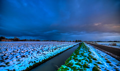 Dark Sunrise. (Alex-de-Haas) Tags: 11mm aurorahdr d750 dutch hdr holland irix nederland nederlands netherlands nikon noordholland photomatix westfrisia westfriesland art artistic artistiek beautiful betoverend bevroren boerenland cloud clouds cold daglicht daylight desolate farmland fire flat frozen heaven hemel kou kunst landscape landschap licht light lucht mooi plat polder skies sky sneeuw snow sunrise verlaten vuur water winter wolk wolken wonderful zonsopgang