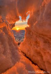 Lake Michigan ... winter's climax (Ken Scott) Tags: backpage ice sunset window sunburst leelanau michigan usa 2018 february winter snow 45thparallel hdr kenscott kenscottphotography kenscottphotographycom freshwater greatlakes lakemichigan sbdnl sleepingbeardunenationallakeshore voted mostbeautifulplaceinamerica