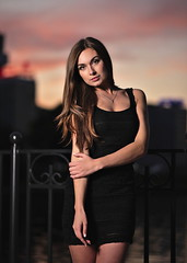 Sunset in the city (zmvphoto) Tags: sunset girl gimp beautiful darktable city portrait sb700 softbox street dress speedlight seductive sensual young nikon