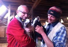 Kurt und Anton mit seinen Ziegen