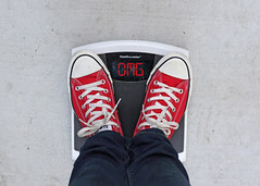 OMG (YetAnotherLisa) Tags: scale weight health resolution newyear weightloss chucks converse redshoes omg humor self portrait challenge diet