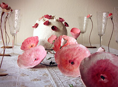 Handmade Paper Floral Table Decor by Alessandra Fabre Repetto (all things paper) Tags: paperflowers tablescape papermache papersculpture greenweddings ecofriendly earthfriendly ecoweddingdesign