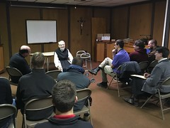 Fr. John Eudes Bamberger, OCSO, speaks to seminarians at Our Lady of Genesee Abbey, Trappist Monastery in Piffard, NY - Jan. 27, 2018