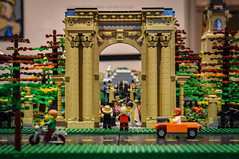 LEGO Union Station Arch (tim.perdue) Tags: lego columbus museum art cma cmoa think outside brick exhibit gallery building toy minifig union station arch wedding bride groom car motorcycle street road architecture trees