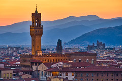 Palazzo Vecchio & Sunset (Luís Henrique Boucault) Tags: aerial ancient antique architecture art beauty blue bridge building city cityscape color culture duomo europe european evening famous firenze florence history italian italy landmark landscape light medieval michelangelo monument nature old palace palazzo people renaissance scene signoria sky sunrise sunset tourism tower travel tuscan tuscany urban vacation vecchio view water