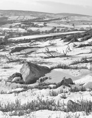 Significant Snowfall (S Marwood) Tags: canon700d winter snowscape landscape heather bnw monochrome mono blackandwhite rock stone danby northyorkmoors nationalpark snow moors moorland snowfall view vista yorkshire january