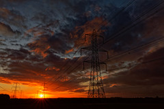 Power Grid. (alan.irons) Tags: energy generating grid power pylons silhouette sunrise colours sky clouds northlincolnshire humberside 2018 morning tamron 1530mmf28 eos5dmkiv canon wideangle