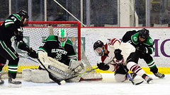 Wrap-around stop (R.A. Killmer) Tags: senior night black green sru skate slippery rock university acha ice hockey goalie save puck pads slide stick