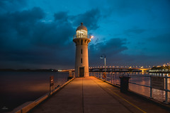 Raffles Marina Lighthouse (edfy) Tags: raffles marina lighthouse twilight blue orange cloudy sailing yachting sunny summer evening landscape club lifestyle singapore asia international stock beautiful peaceful