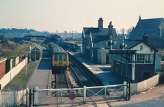 Stourport-on-Severn station in 1969 (Tom Burnham) Tags: uk worcestershire stourportonsevern railway station train gwr signalbox levelcrossing signal 1960s