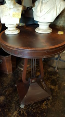 "NICER QUALITY 20TH CENTURY LYRE-BASED MAHOGANY END TABLE.  $145. • <a style=""font-size:0.8em;"" href=""http://www.flickr.com/photos/51721355@N02/27849176559/"" target=""_blank"">View on Flickr</a>"