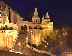 Fisherman's Bastion at night (ChiaraBer) Tags: budapest parliament building buda pest hungary hungarian capital city cityscape fishermans bastion night photography iphone x architecture europe european east eastern country landscape view panorama travel traveling girls friends fun christmas vacation moon moonlight castle palace river danube nightlife nightlight reflection illuminated lit amazing beautiful place