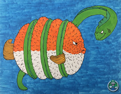 Puffer in a Bind (AP Art Project) (Luigi Fan) Tags: ap puffer fish eel marker art drawing