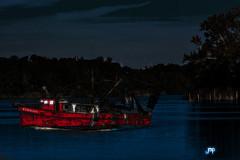 "Red Swrimp Boat (crimsontideguy-from ""Sweet Home Alabama"" USA) Tags: art digitalart painting boats lakes water trees cloudsandsky nikon photoshop florida parkerflorida night glow"