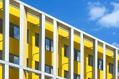 Yellow building in Nantes (Jan van der Wolf) Tags: map175433v building gebouw gevel facade concrete beton yellow geel nantes architecture architectuur
