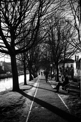 Reach (Kieron Ellis) Tags: blackandwhite blackwhite street canal bench