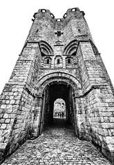 Gent castle tower (MAICN) Tags: turm castle altstadt building burg gent mono sw bw blackwhite monochrome tower schwarzweis 2018 architecture eingang einfarbig tor widedoorway architektur