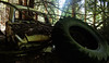 Restes (ETt_) Tags: abandonned forest car ruins grim horror scary tire brancges pins greebles rust soil