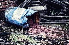 Warning (14/31) (meepeachii) Tags: warning toxic hazard soil red barrel blue lost lostplace forgotten abandoned lostplaces abandonedplace messy bavaria photography nikon germany