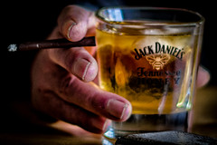 Bad Habits (jayneboo) Tags: drinking smoking relax jackdaniels honey man male tobacco leica cl 85mmr grain badhabits texture tennesseehoney jack bourbon odc health