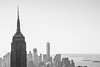 Trio: NYC alignment (marktmcn) Tags: statue liberty 1wtc empire state diagonal alignment aligned lined up lineup freedom tower one world trade center building buildings towers manhattan new york city nyc island harbor monochrome blackandwhite d610 nikkor 28300mm 1 wtc