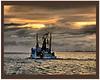 Dawn 2 (agphoto100) Tags: sony dsch100 boat trawler fishing nets bird seagull water sea rough clouds sunrise bay rain stern masts frame framed 100iso grouptripod