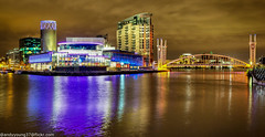 Media City-3 (andyyoung37) Tags: manchester manchestershipcanal mediacity nighttime salfordquays uk waterreflections bridge lightreflections