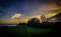 Trees and Trains at Dawn (Explore) (Rae de Galles) Tags: severn dusk evening night orange skies sky blue sunrise morning early trees pylon bridge estuary cymru britain uk wales travel train