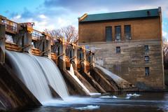 Sunshine on the Dam (joshuay04) Tags: bartondam annarbor michigan river huron nature park sunset water history landscape energy xpro2 xf35mmf14 waterfall locks