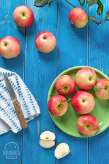 Apples on a blue table (Food photography / Food styling) Tags: agricultural agriculture apple autumn background blue close crispy crop delicious diet farm food fresh fruit garden golden granny green healthy horticulture juice juicy lifestyle market natura nature nobody orchard organic picked produce raw refreshing ripe season seasonal smith snack summer table tasty vibrant whole wooden