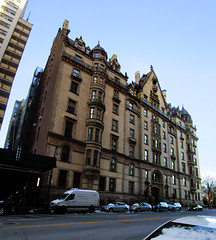 The Dakota Apartment Building on Central Park West NYC 77191 (Brechtbug) Tags: the dakota apartment building central park west nyc 72nd street exterior view february 02182018 2018 new york city rooftop above american indian built 1881 art architecture former home john lennon current apartments yoko ono featured predictable but dread filled horror film rosemarys baby 1968 movie director roman polanski