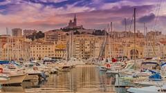 Vieux-Port (Old Port) Marseille (Oliver Weihrauch) Tags: marseille oldport notre dame de la garde vieuxport notredamedelagarde france sunset