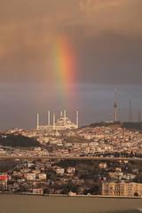 surreality (hacky_Am) Tags: rainbow mosque istanbul turkey türkei dream reality surreal bosphorus bogaz sky winter clouds rain color gökkusagi regenbogen