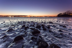 Ice Covered Shallow Bay (Kurt Evensen) Tags: landscape winter nature water frost le nightphoto shore light vestfold rocks norway longexposure blue beach nightsky bluehour sea nightlights tønsberg sky seascape nightphotography reflections cold ice no