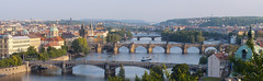 Sunrise over Prague. Panorama of five bridges. (chrisdingsdale) Tags: prague sunrise dawn travel horizon skyline morning czech city tower view attraction over church architecture tourism land exterior cityscape street aerial landmark building roof structure europe capital architectural group house object old temple cathedral nobody light sun mist golden silhouette historical mystery nicholas antique bridge rising panorama five