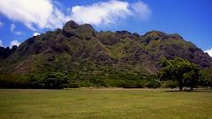 Ko'olau Range (Aneonrib) Tags: oahu hawaii united states green sky clouds blue koolau range tree mountain mountains kualoa regional park